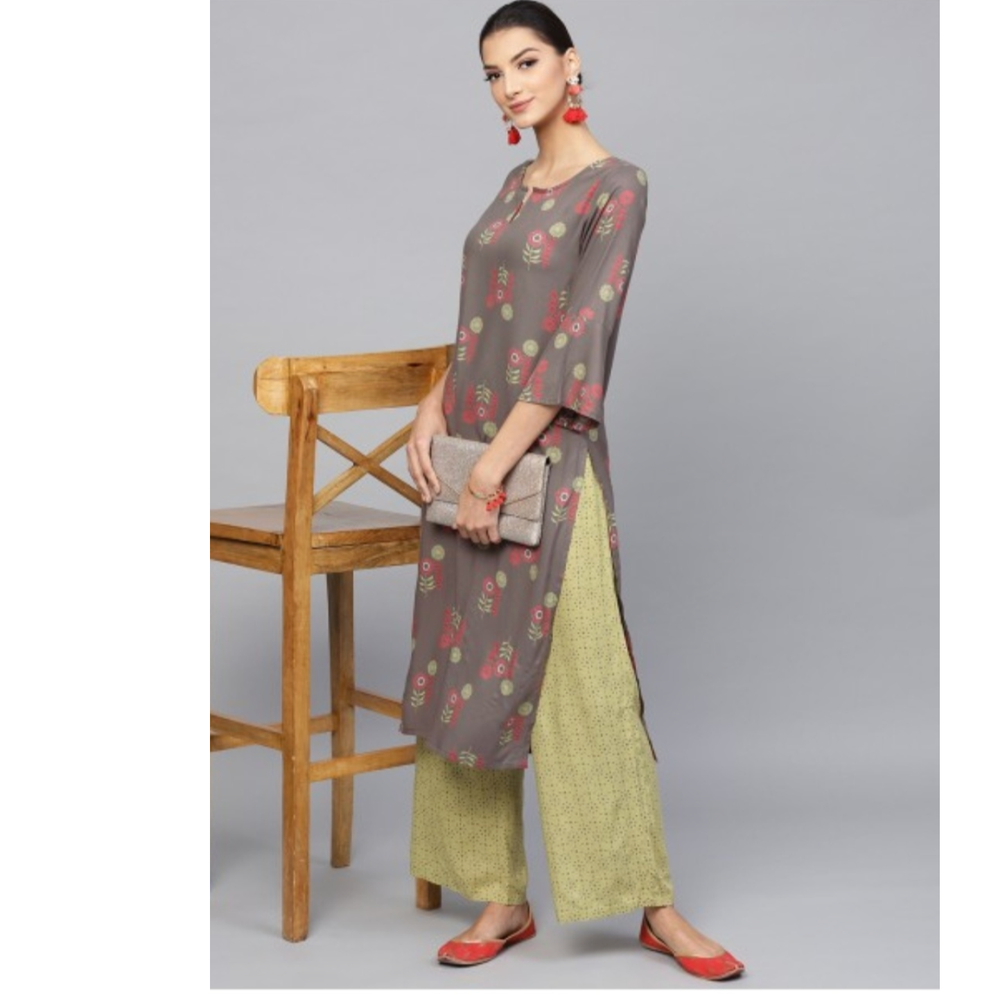 Grey & Green Floral Printed Straight Kurta With Palazzo Set