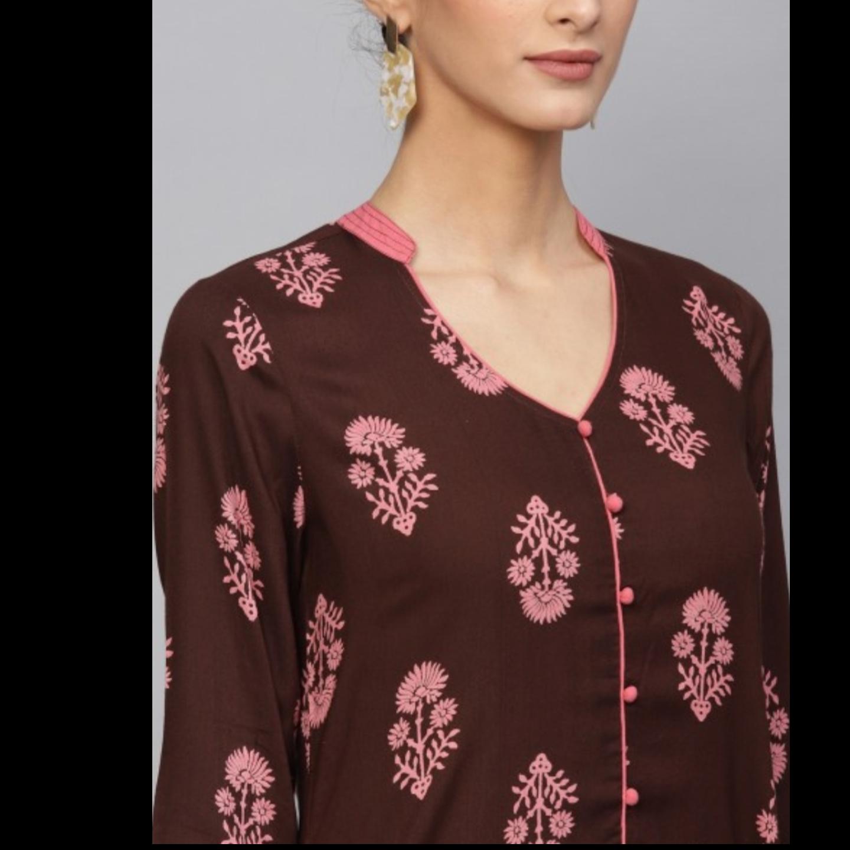 Brown & Pink Floral Printed Straight Kurta With Palazzo Set