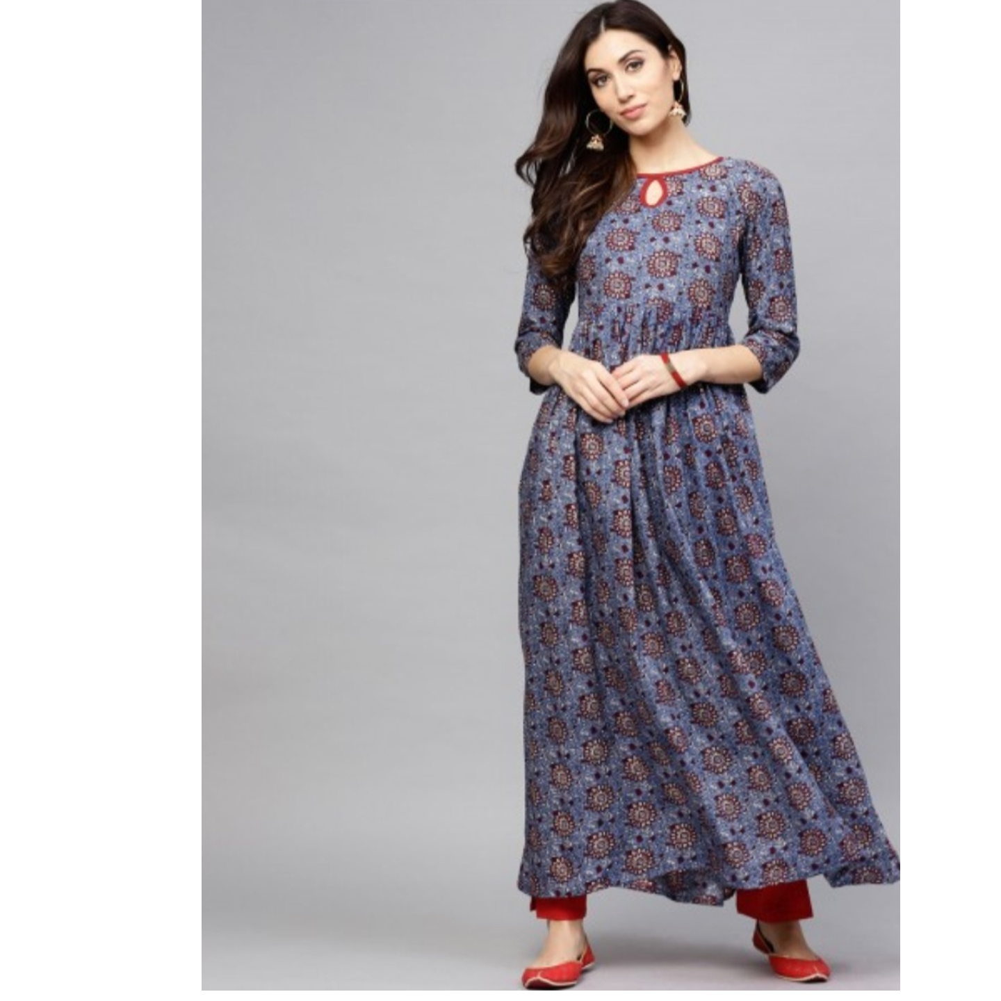 Blue & Maroon Printed Pleated Kurta