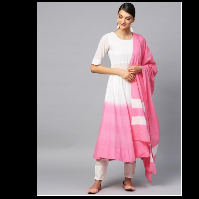 Pink & White Tie & Dye A-Line Kurta & Pant With Dupatta Set