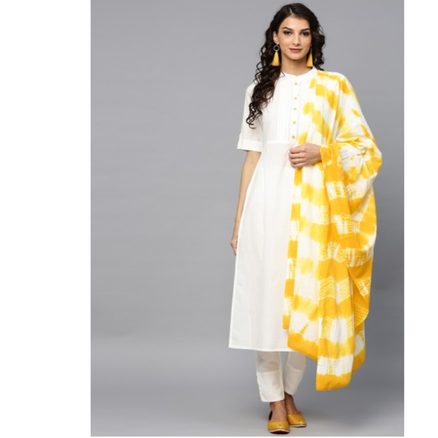 White Solid Straight Kurta & Pant With Tie & Dye Dupatta Set