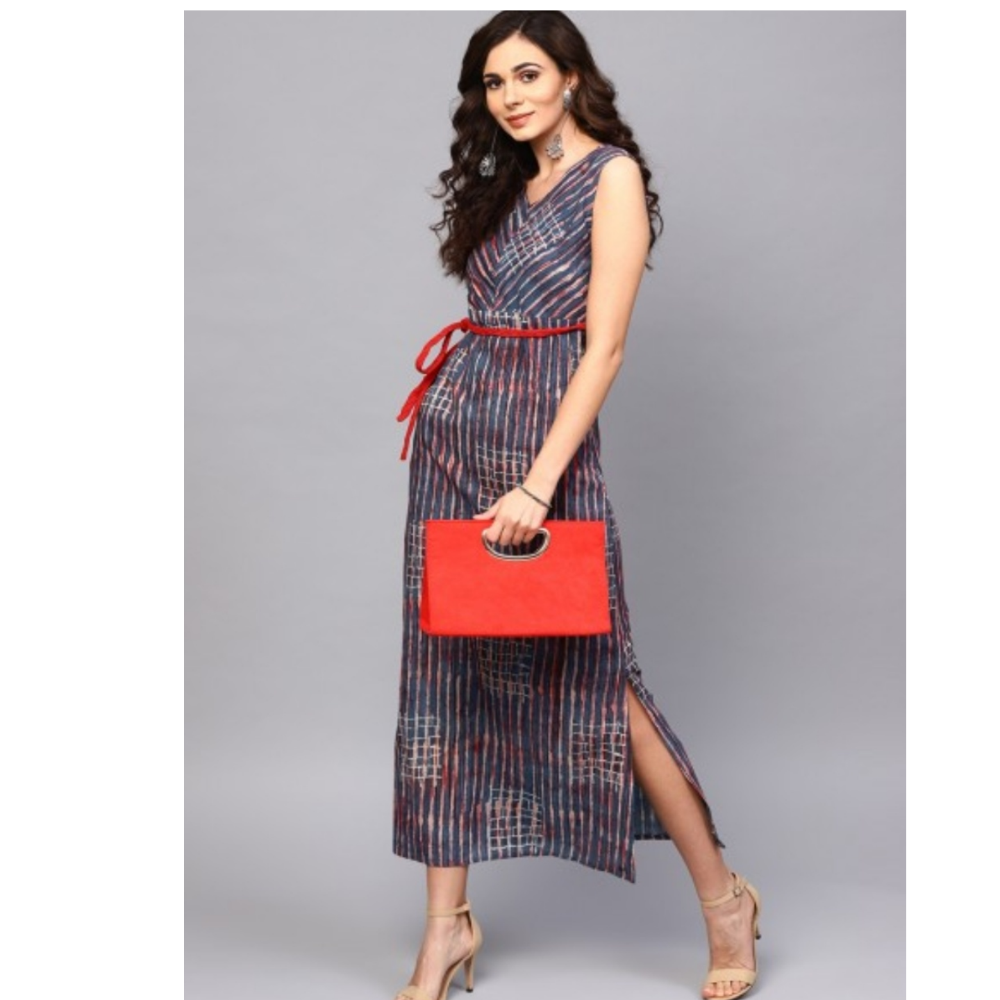 Blue & Red Printed Sleeveless Maxi