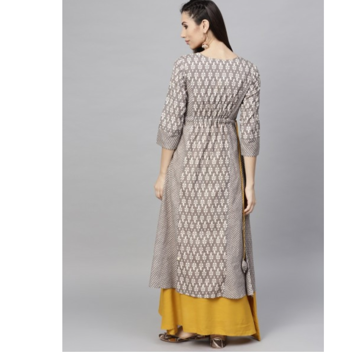 Grey & Yellow Double Layered Maxi With Embroidered Yoke