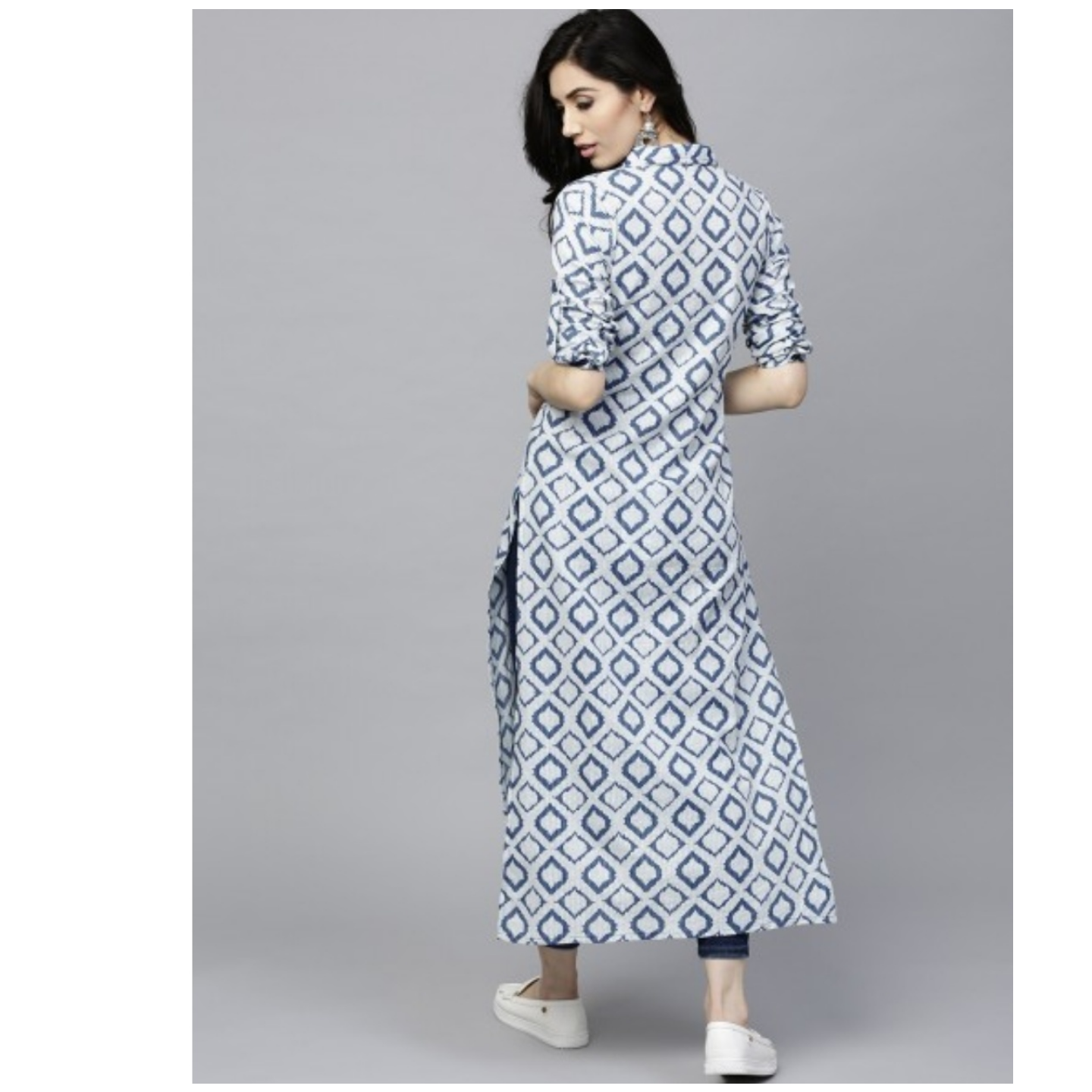 Blue & White Button Down Long Kurta