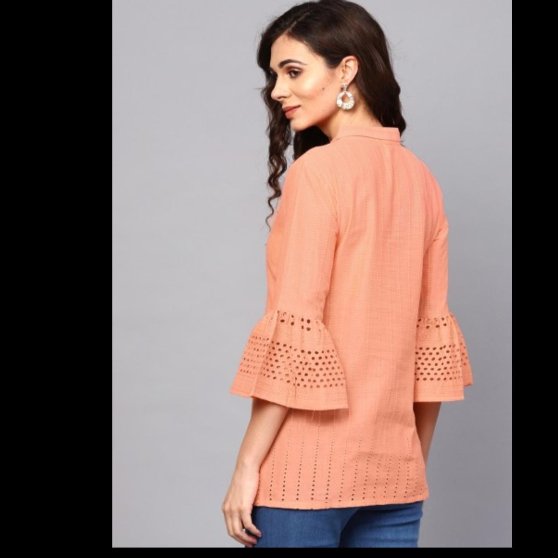 Peach Chikankari Work Tunic With Ruffle Sleeve