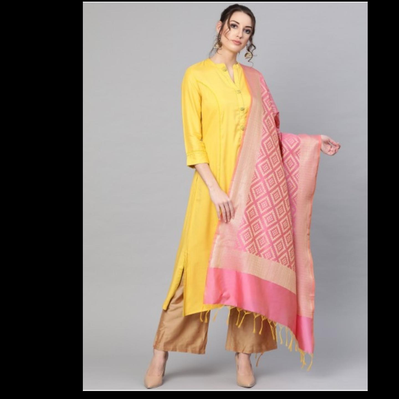 Pink Banarsi weave Dupatta