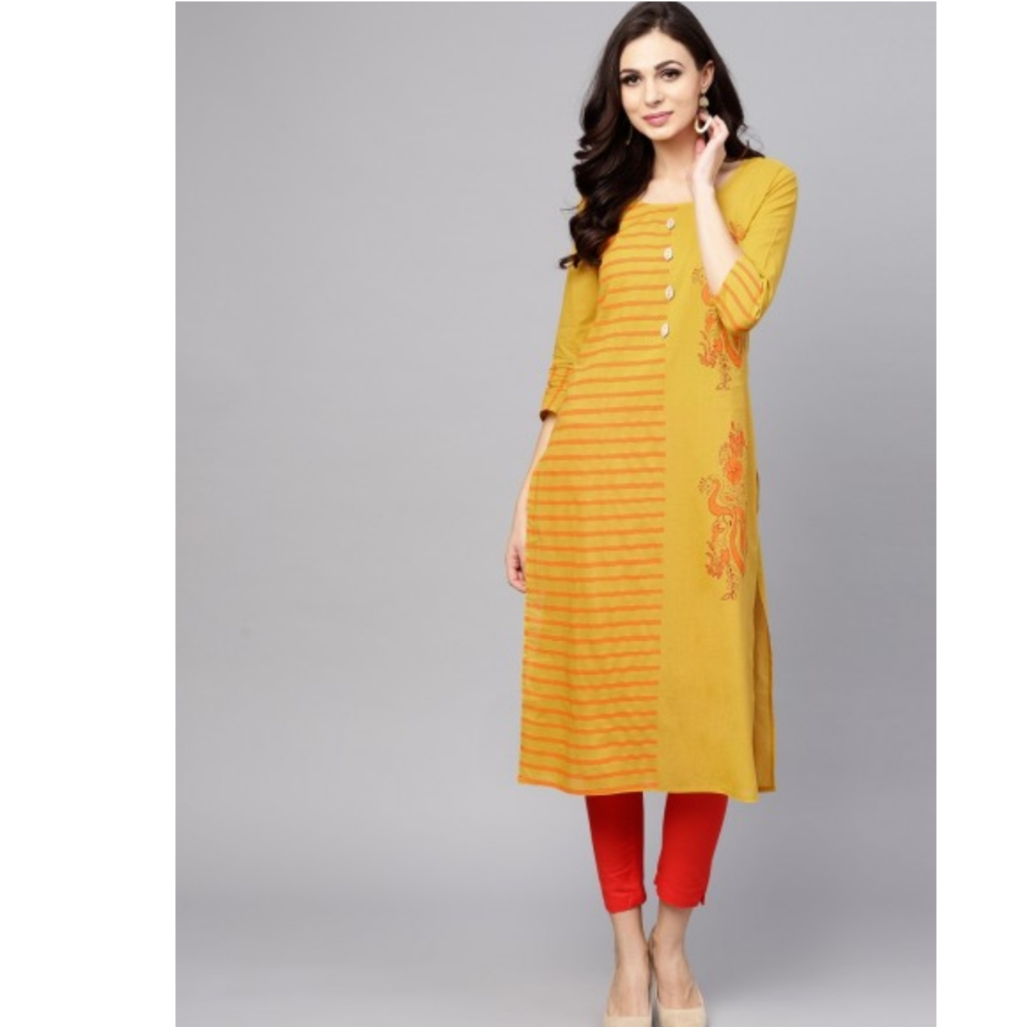 Yellow & Orange Block Printed Straight Kurta