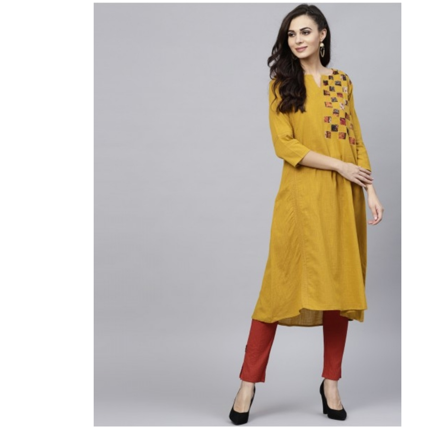 Mustard Solid A-Line Kurta With Printed Patch Work