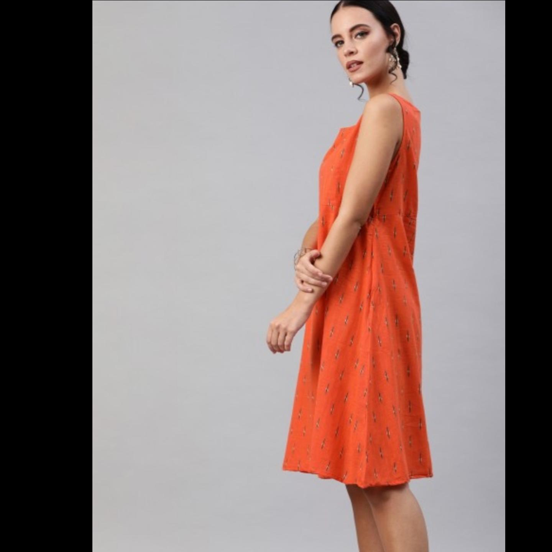 Orange & Black Printed A-Line Dress With Dobby Jacket