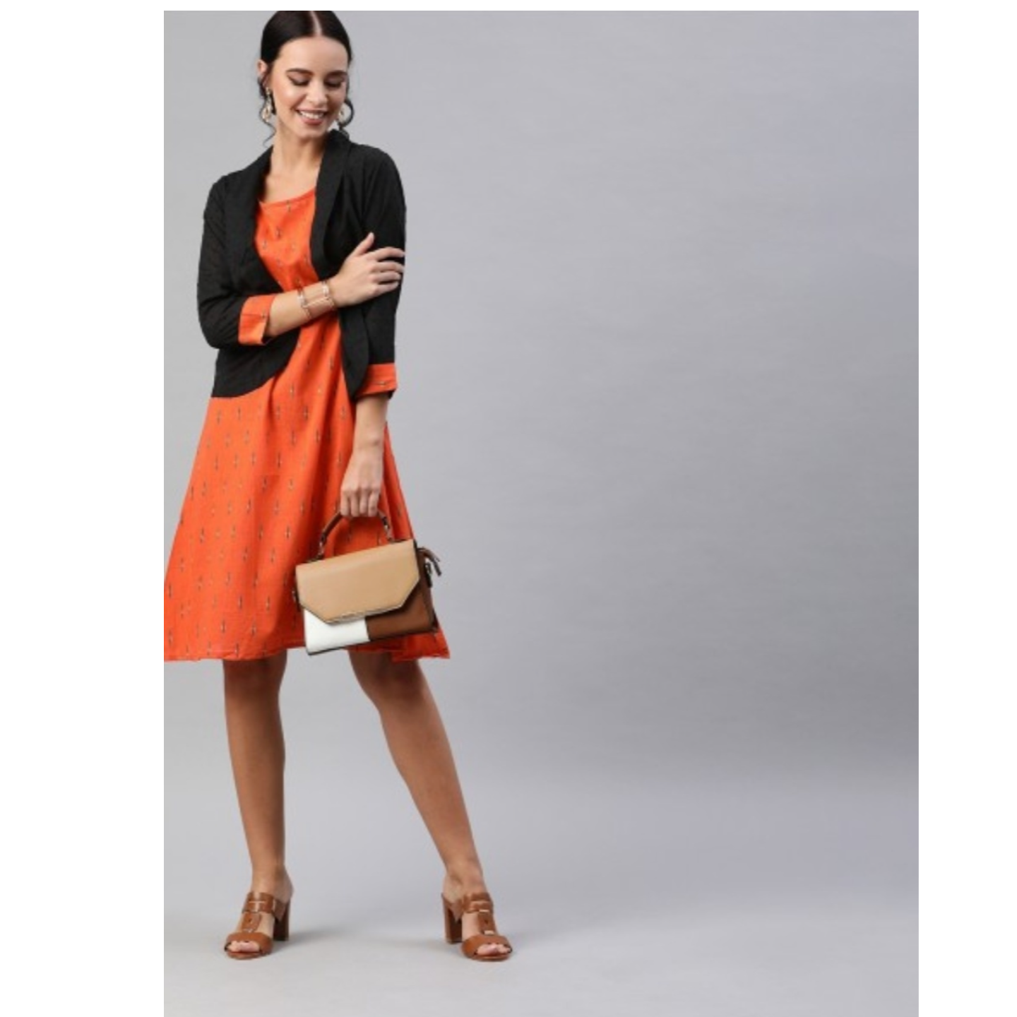 Orange & Black Printed A-Line Dress With Dobby Jacket