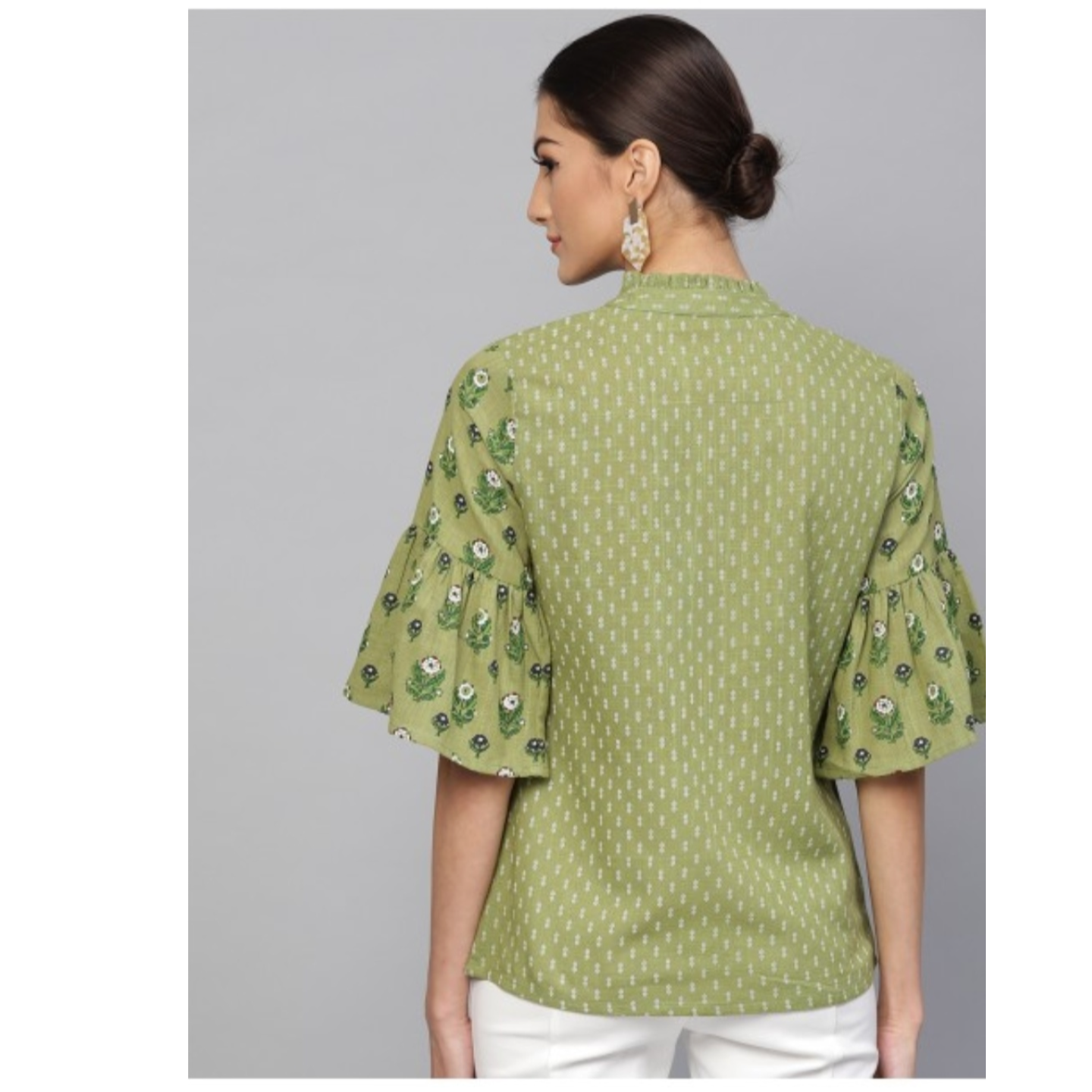 Green & White Printed Tunic With Flared Sleeve