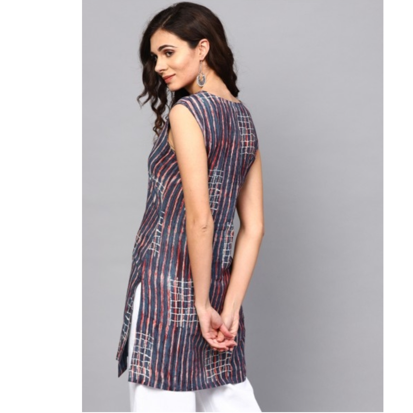 Blue & Red Hand Block Printed Sleeveless Tunic