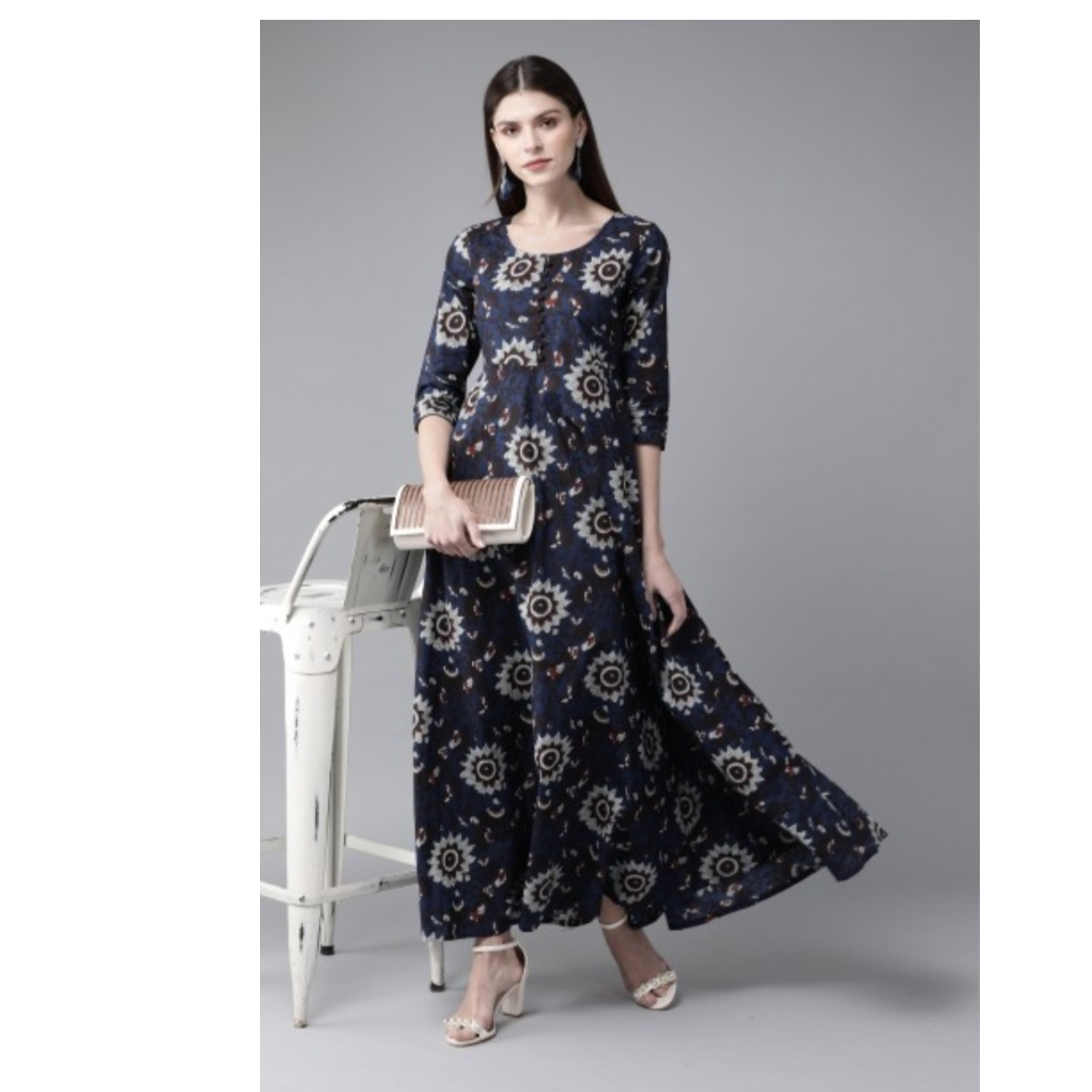 Navy Blue & Grey Printed Maxi Dress