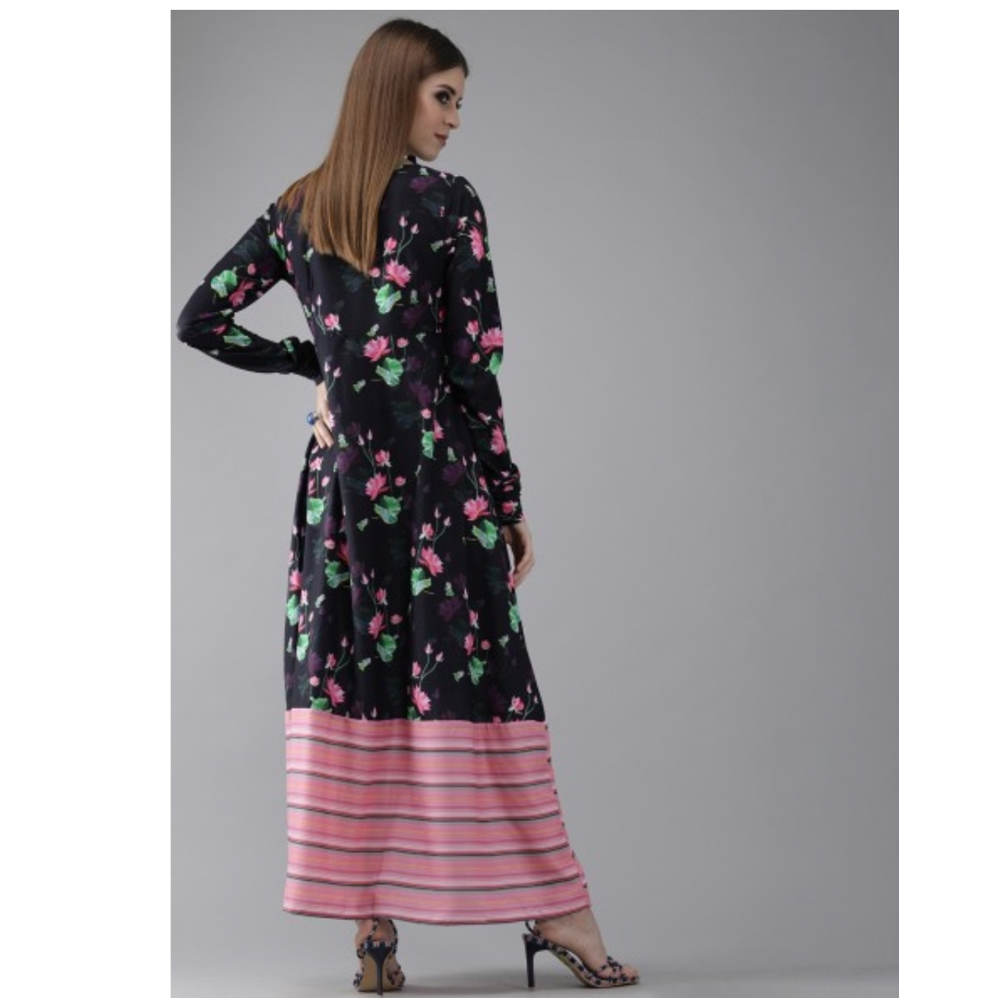 Navy Blue & Pink Printed A-Line Maxi Dress
