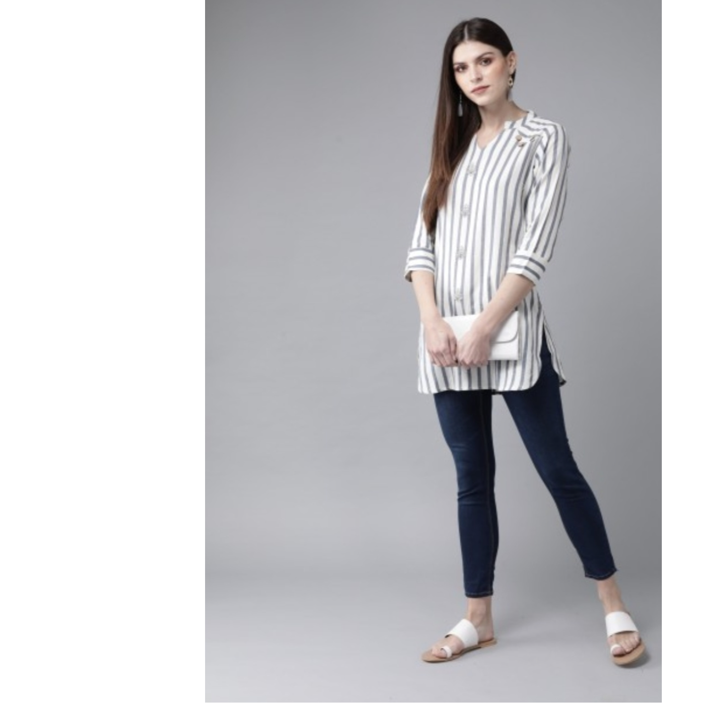 Off-White & Blue Striped Tunic