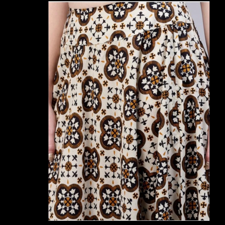 Brown & Beige Printed Skirt With Flared Hemline