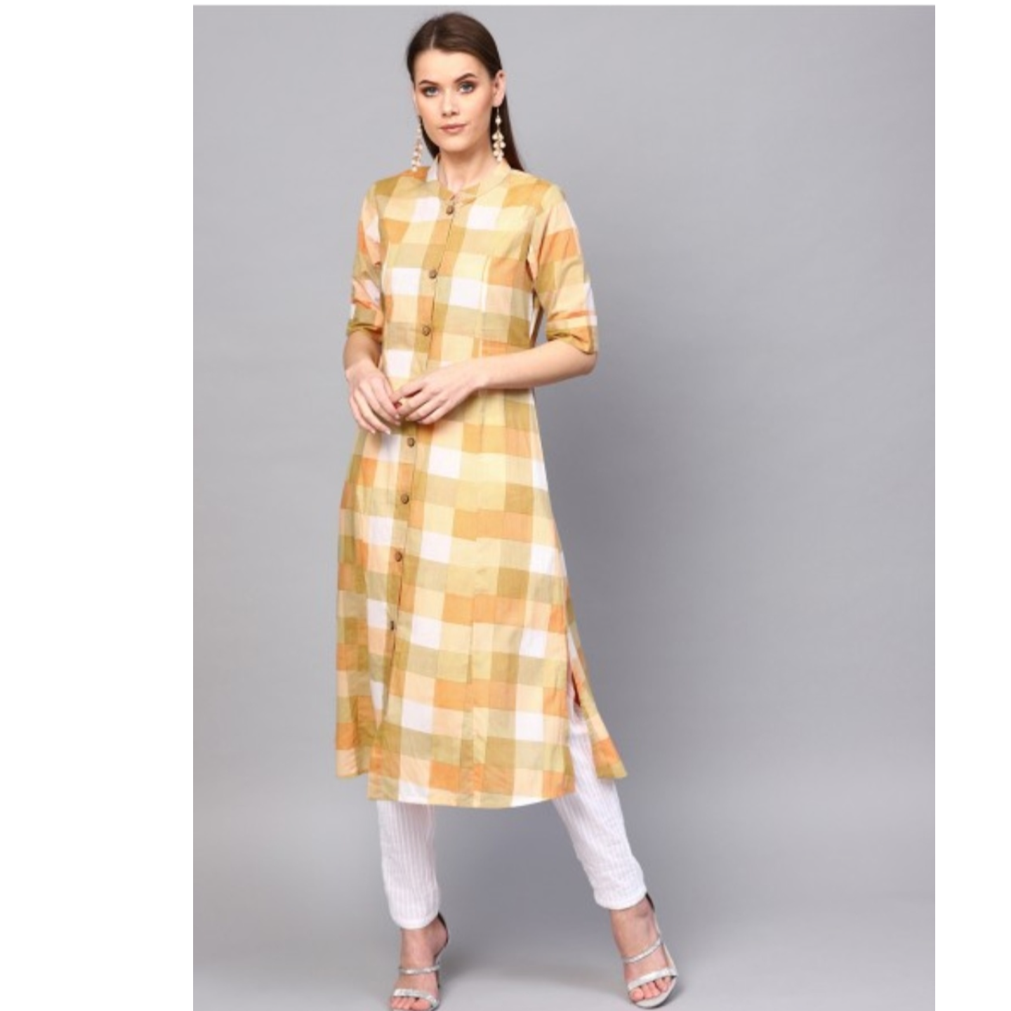Beige Check Printed Button Down A-Line Kurta