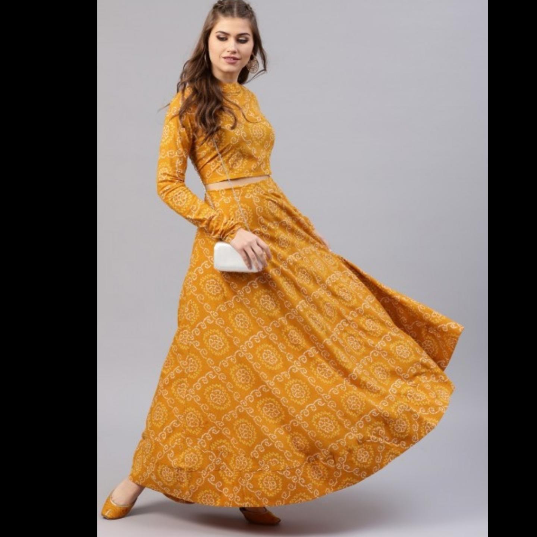Mustard Yellow Bandhani Printed Lehenga & Choli