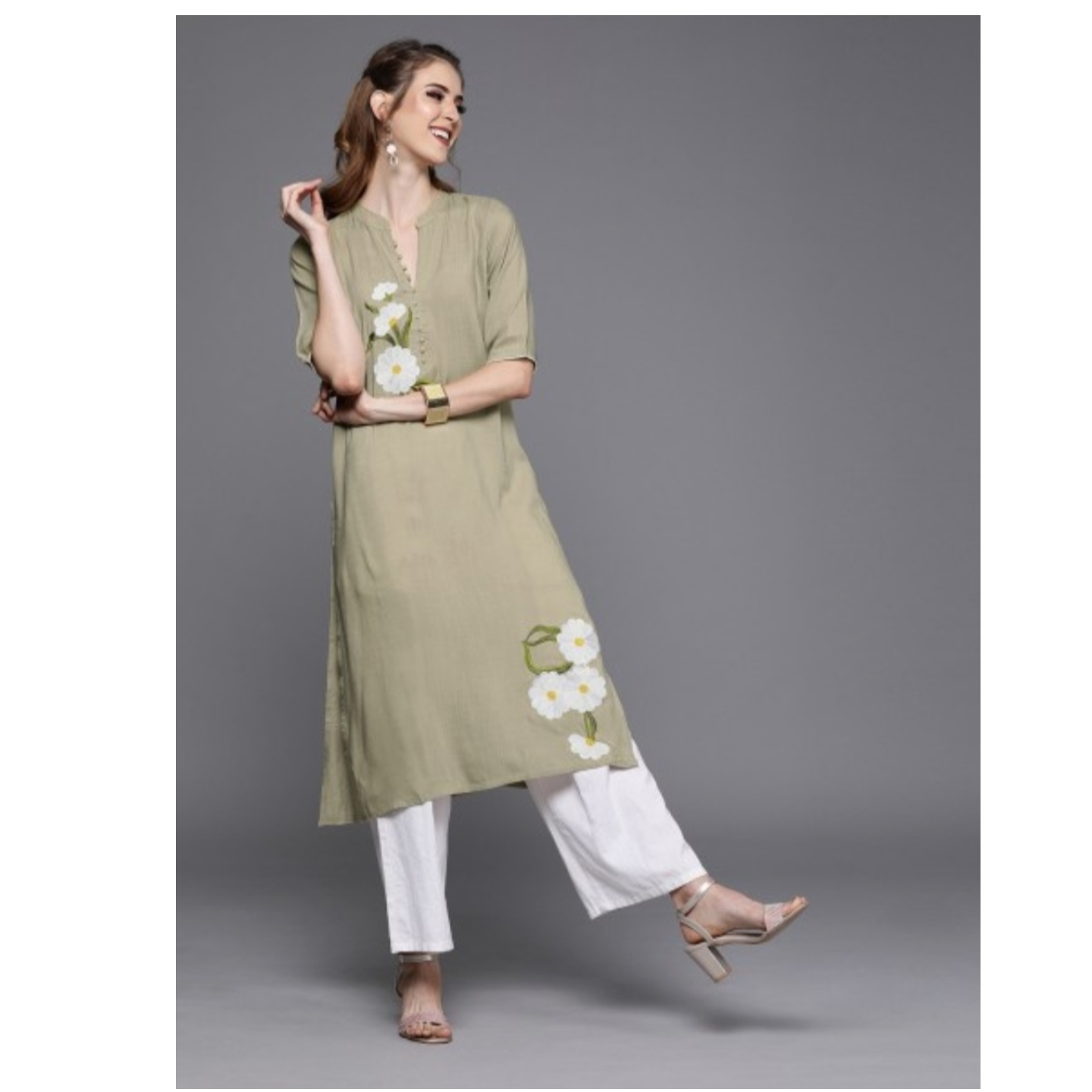 Khaki Embroidered Straight Kurta
