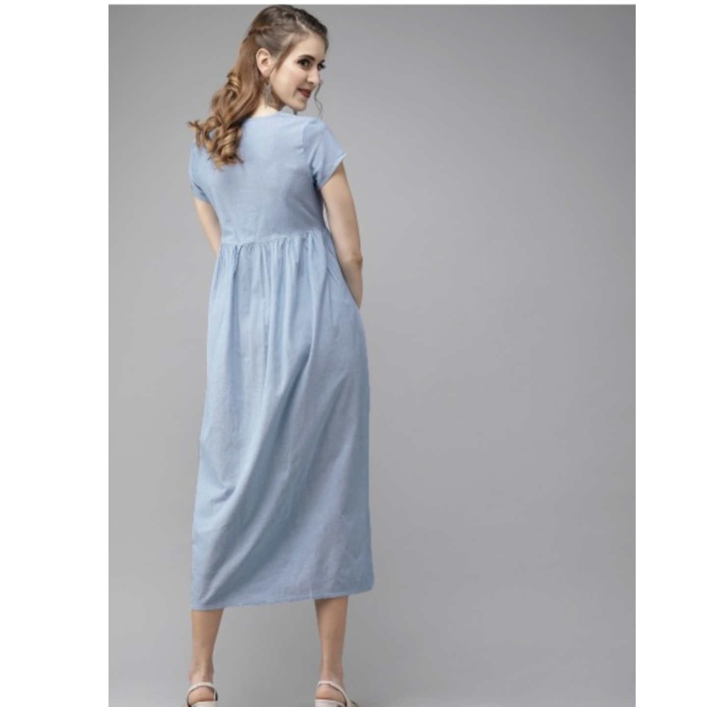 Blue Solid Fit And Flare Dress With Embroidery