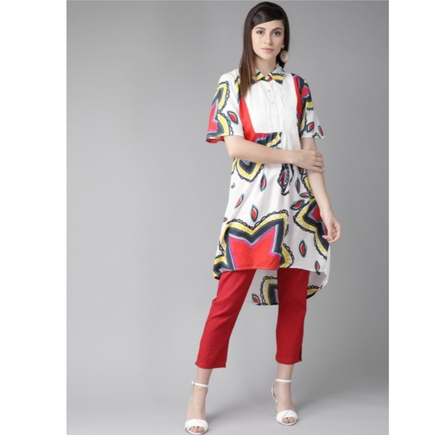 White & Red Quirky Printed A-Line Kurta