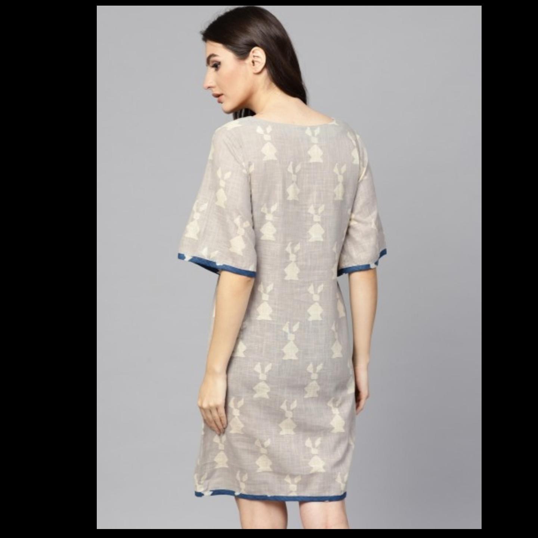 Beige Dabu Printed A-Line Dress