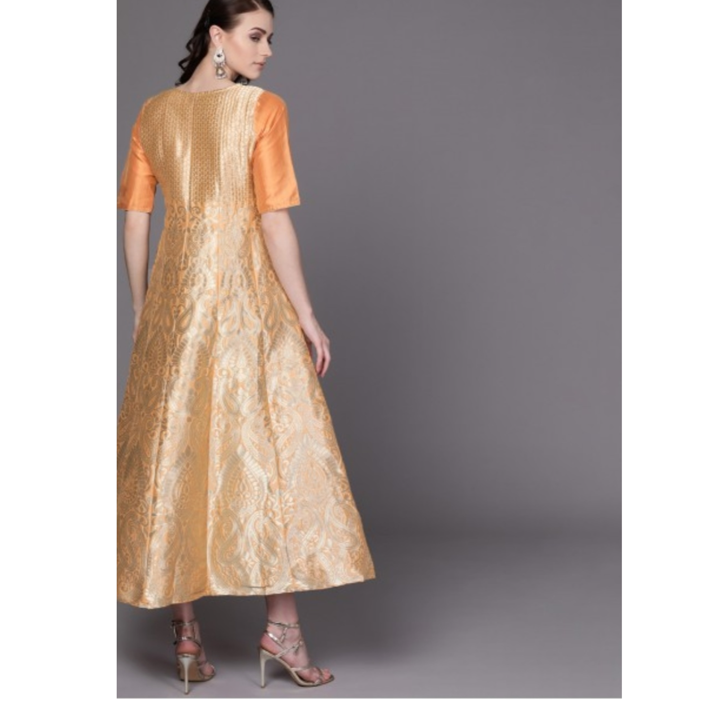 Orange & Golden Woven Design Maxi Dress