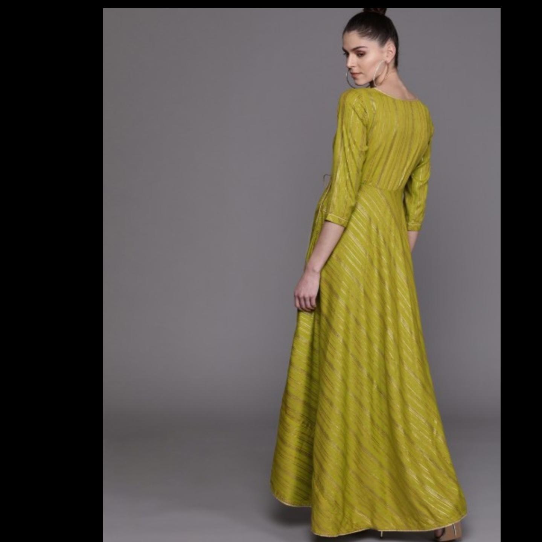 Green & Golden Striped Maxi Dress