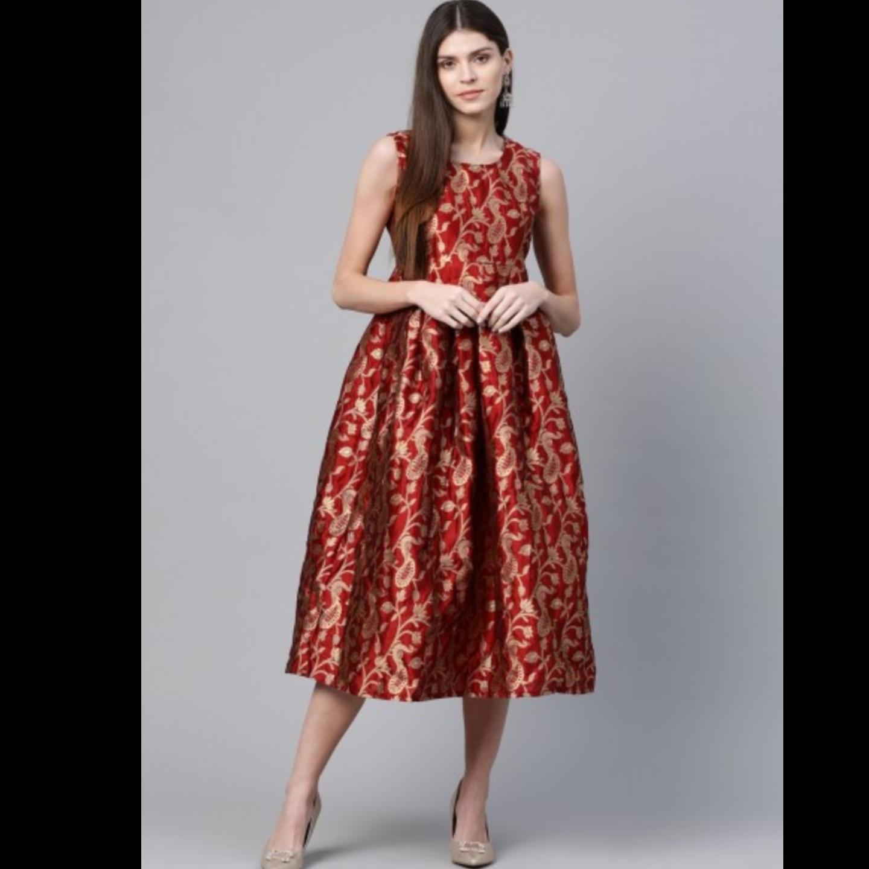 Maroon & Golden Self Design Wrap Dress