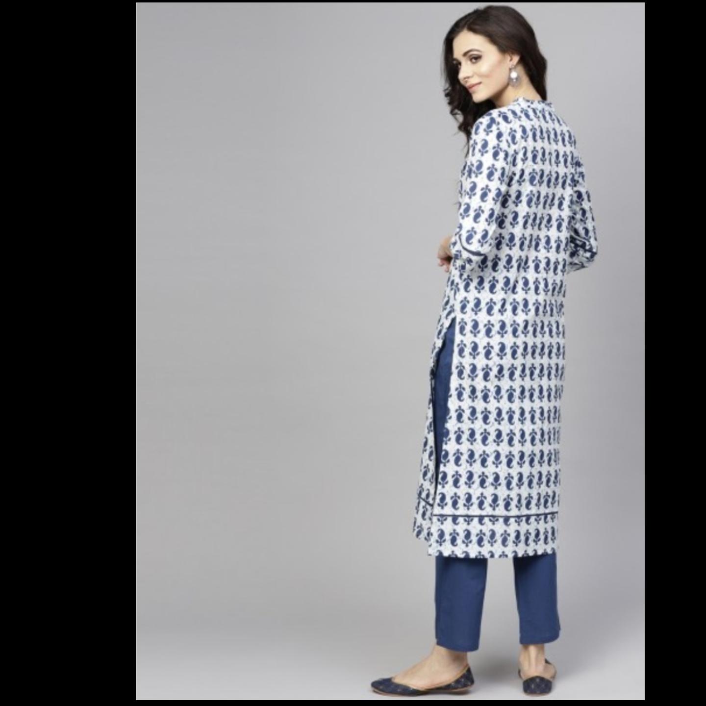 White & Blue Printed Straight Kurta With Pant Set