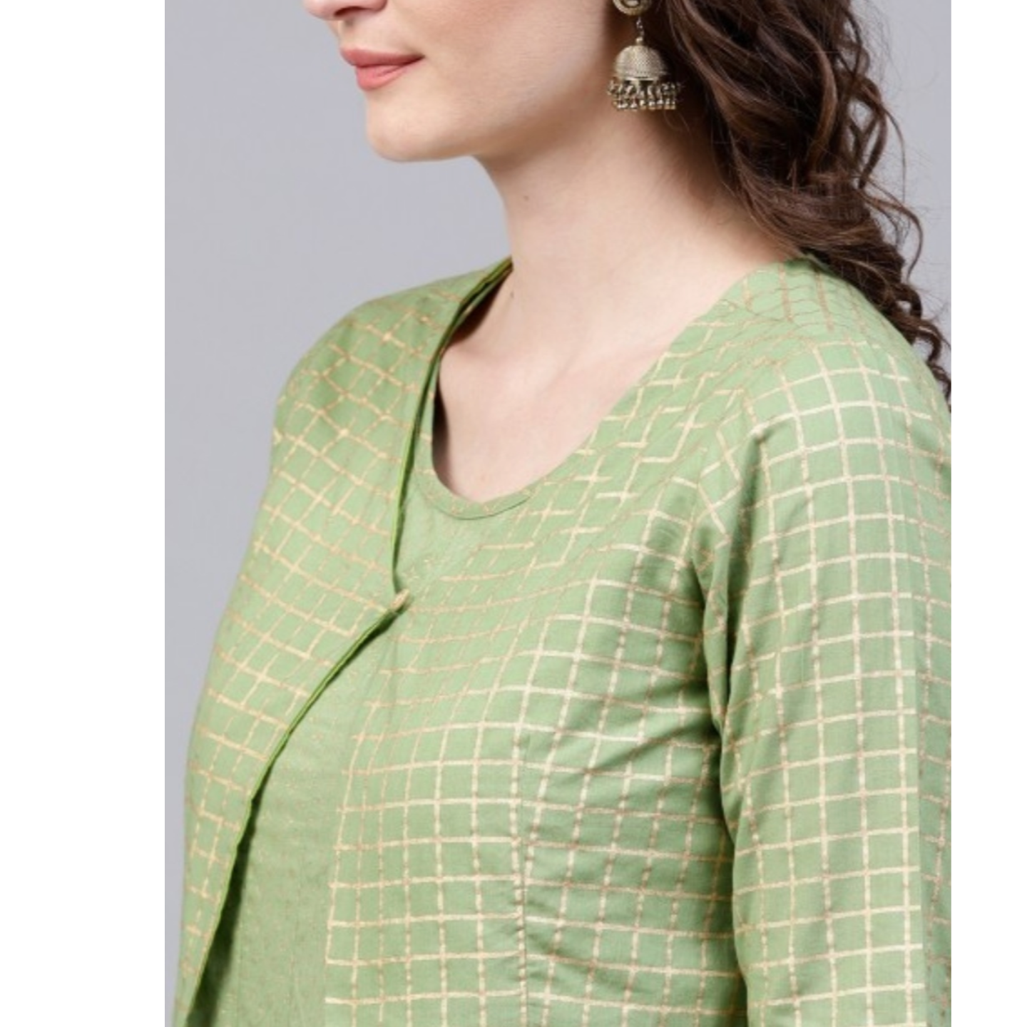 Mint Gold Printed Anarkali With Waist Coat