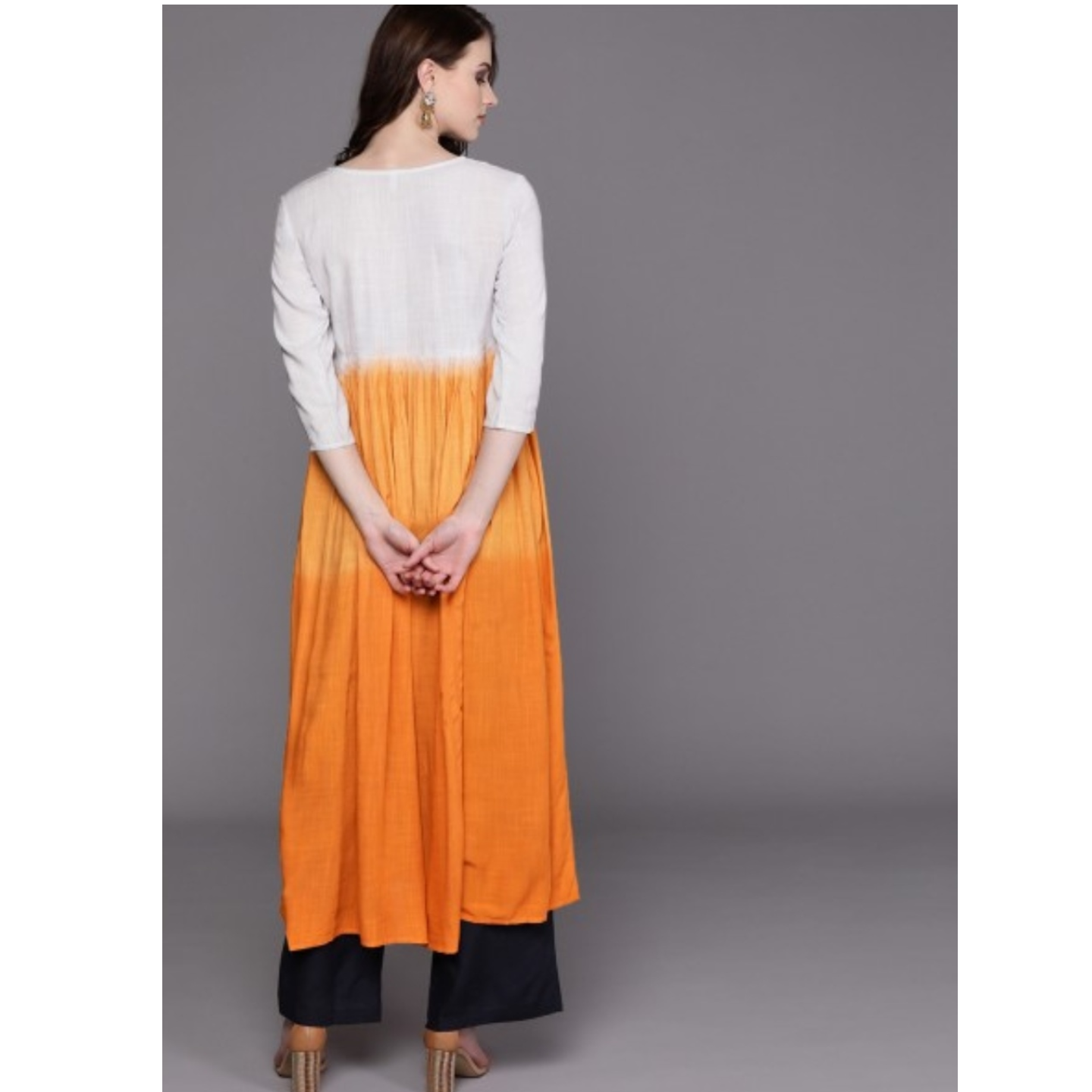 Orange & White Dyed A-Line Kurta