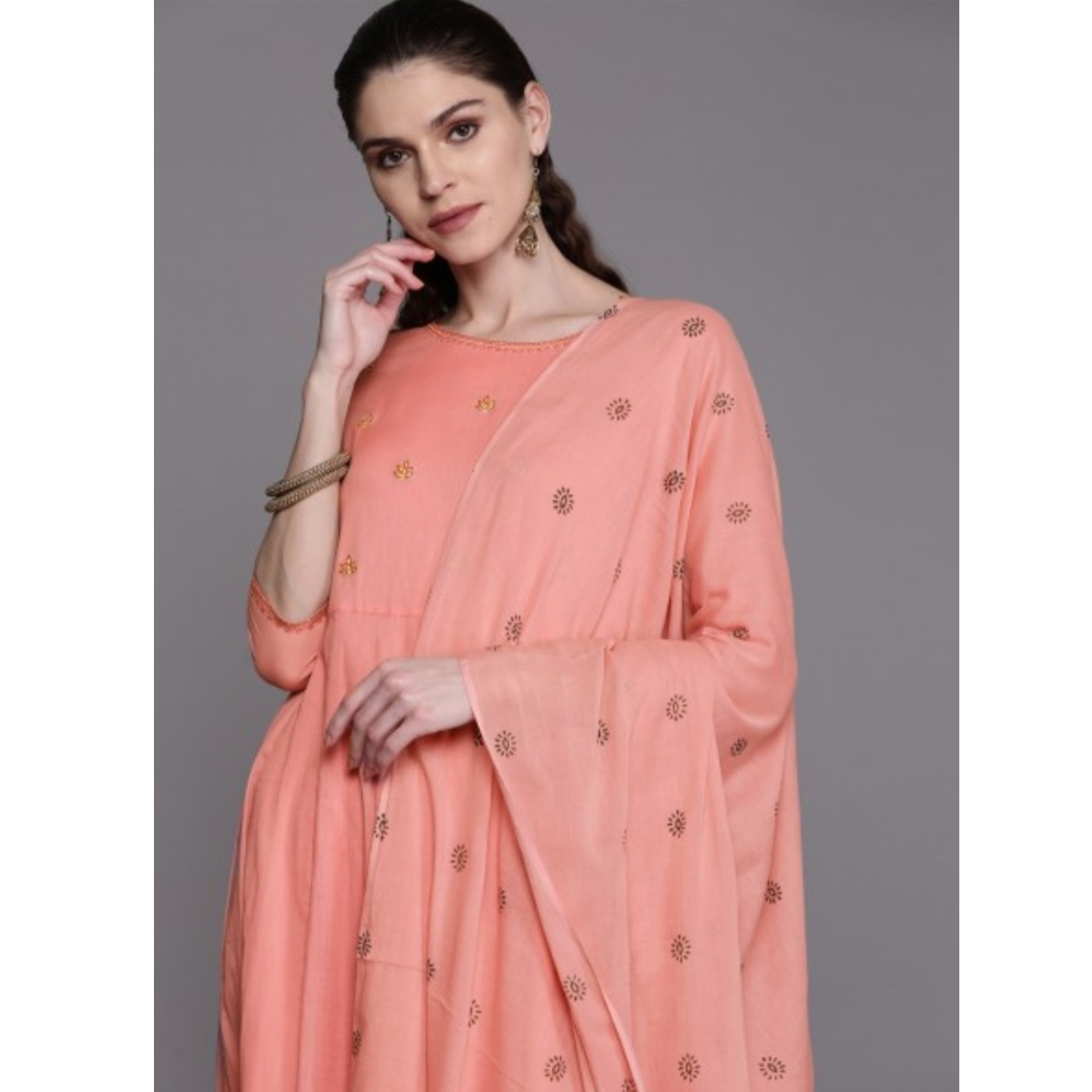 Peach-Coloured & Golden Yoke Design Anarkali Kurta With Dupatta