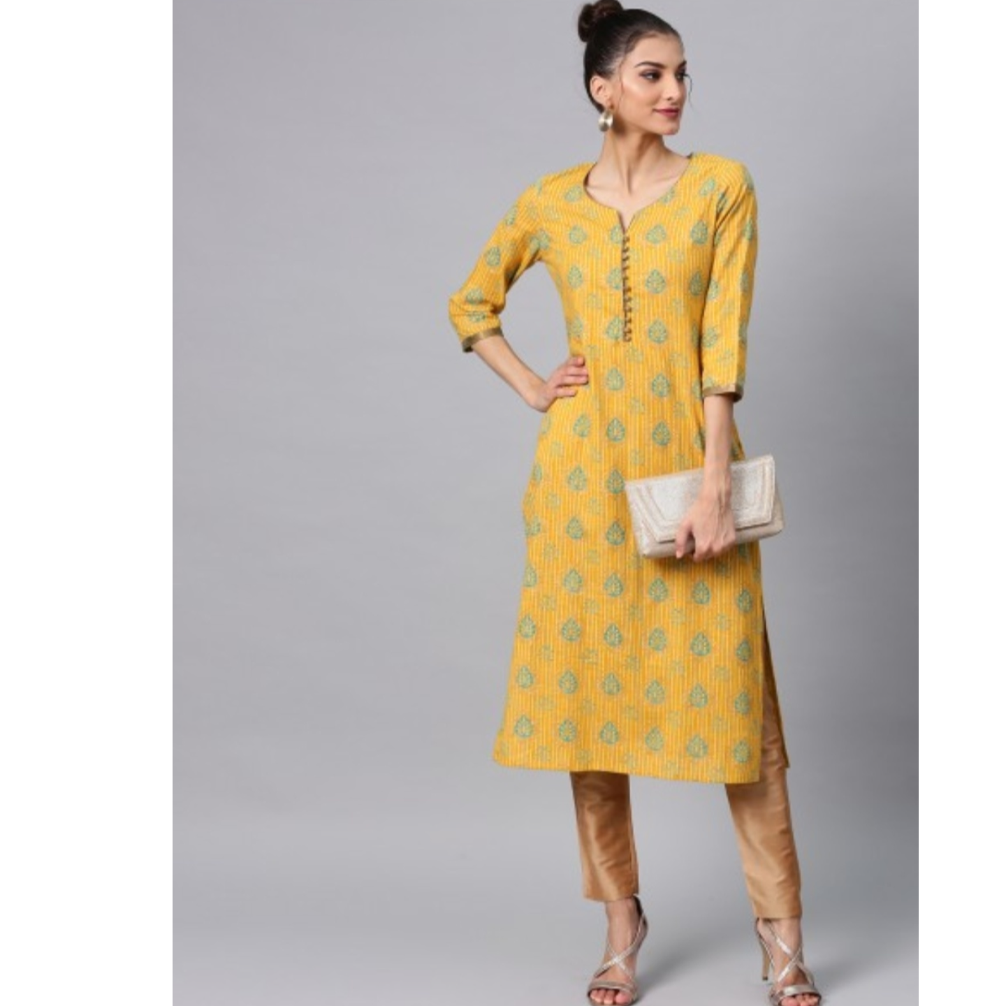 Yellow Gold Printed Straight Kurta