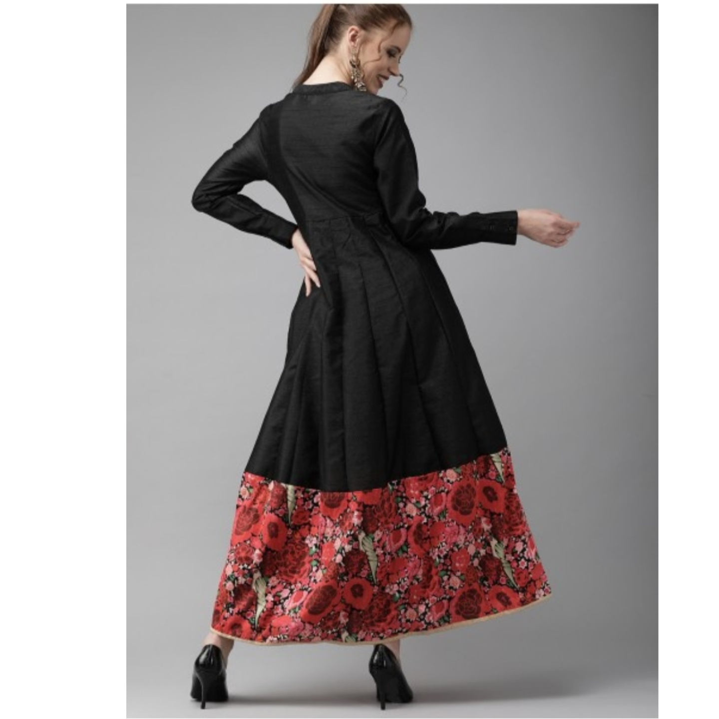 Black & Red Self Design Panelled Maxi Dress With Floral Print