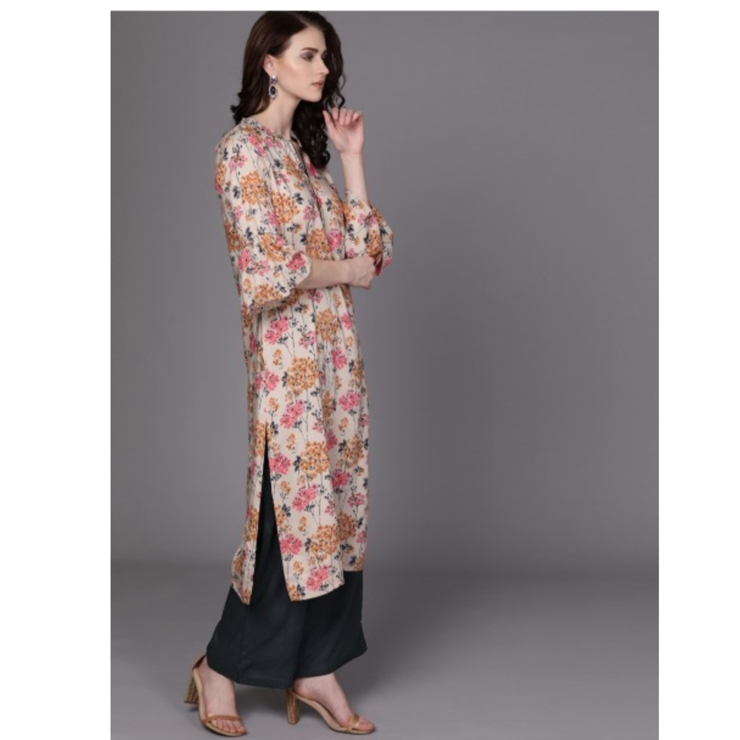 Beige & Navy Printed Kurta With Palazzos