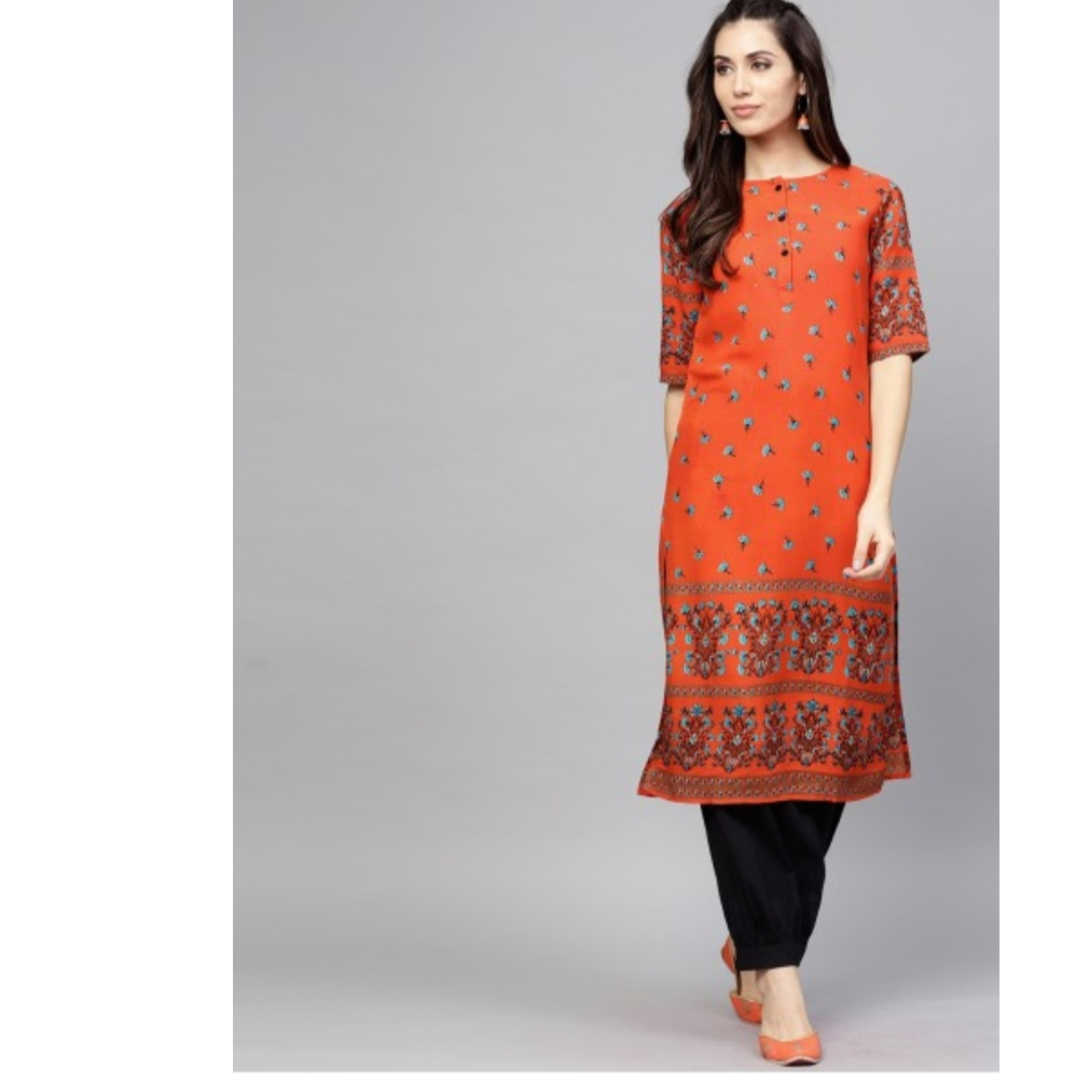 Orange & Black Printed Straight Kurta