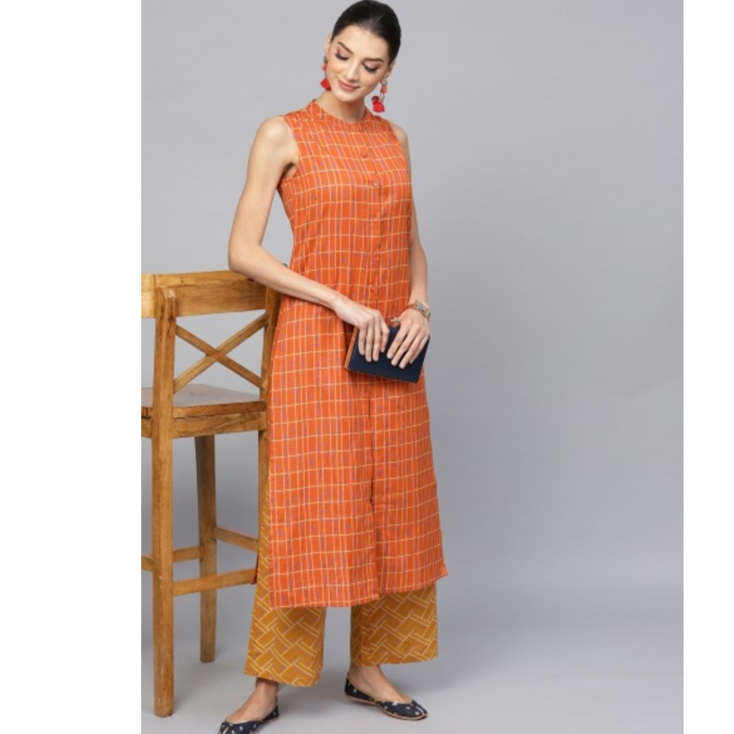Orange Printed Sleeveless Kurta With Mustard Palazzo Set