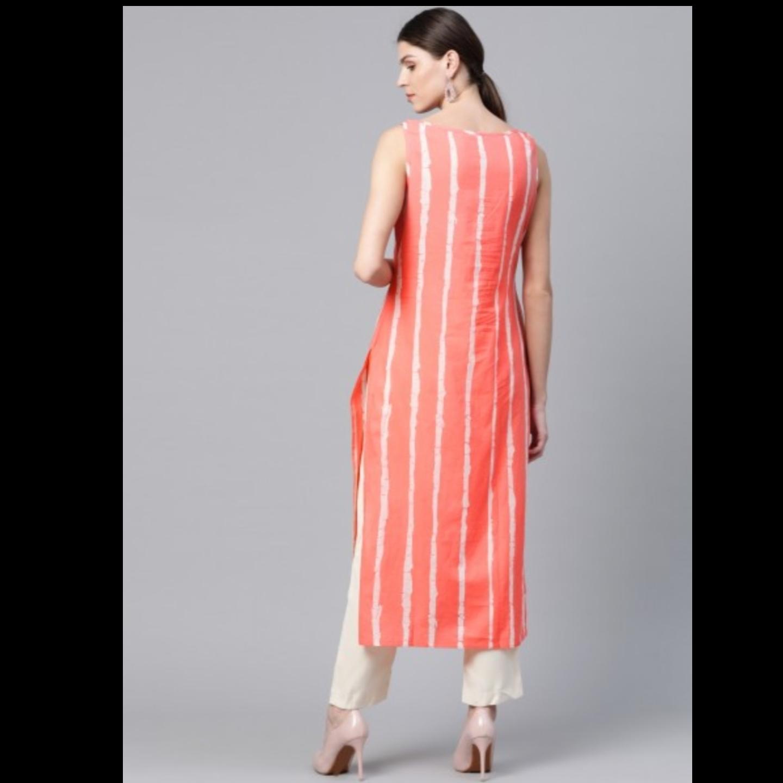 Coral Orange & White Leheriya Print Straight Kurta