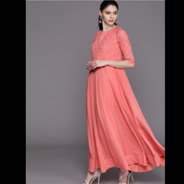 Women Peach-Coloured & Teal Blue Yoke Design Anarkali Kurta With Dupatta