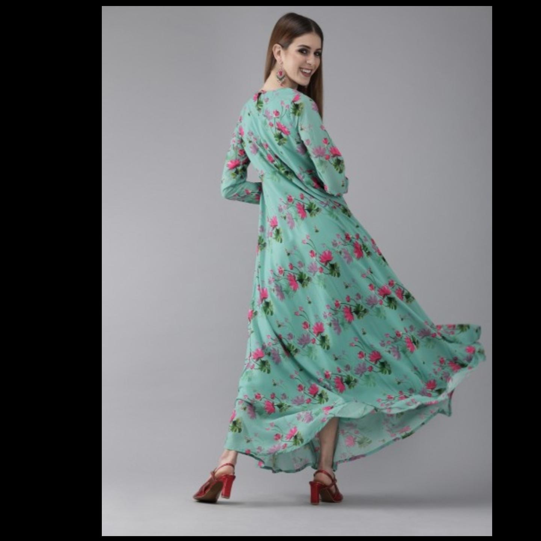 Sea Green & Pink Printed Maxi Dress