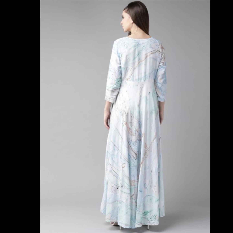 Sea Green & Blue Printed Maxi Dress