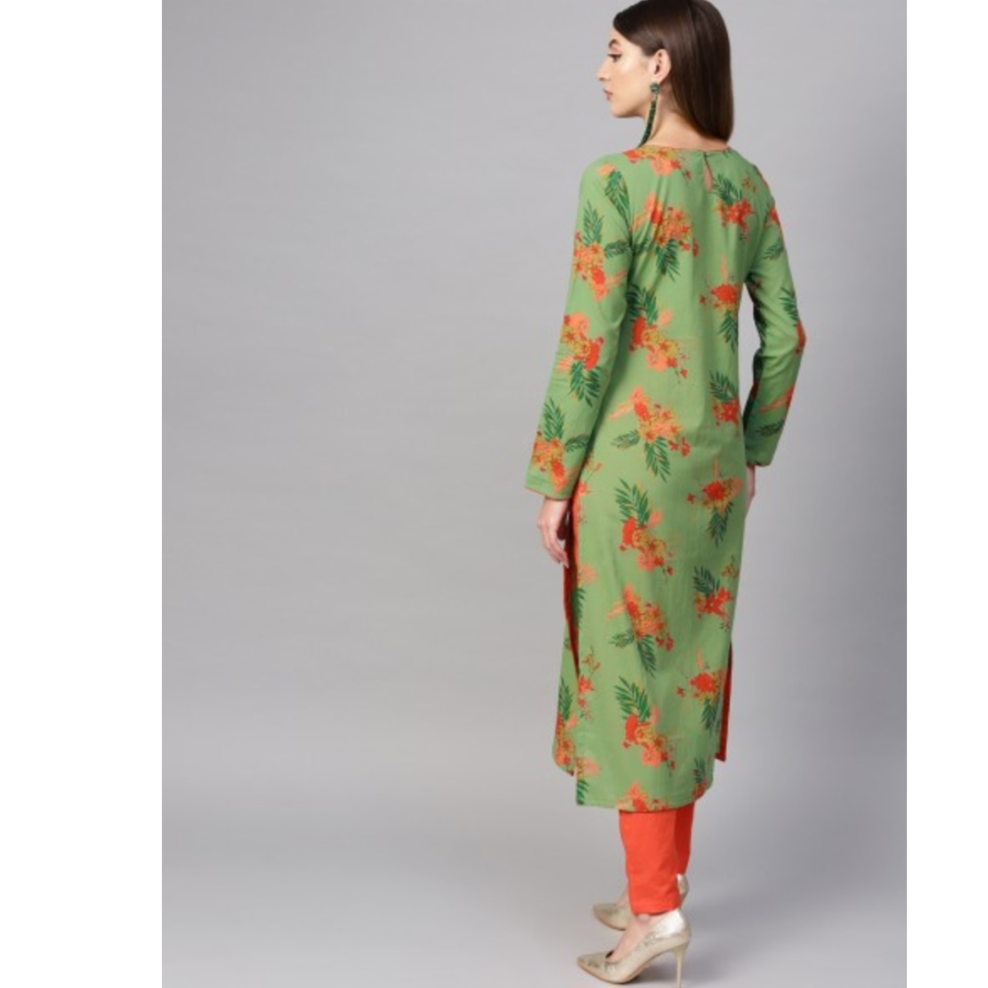 Green Printed Straight Kurta With Contrast Detailing