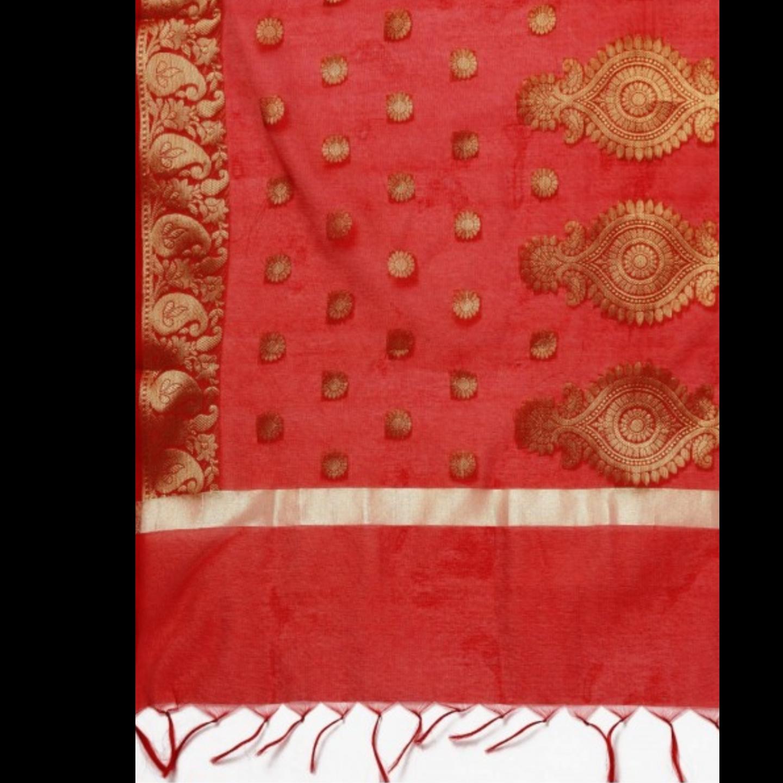 Red Woven Designed Dupatta
