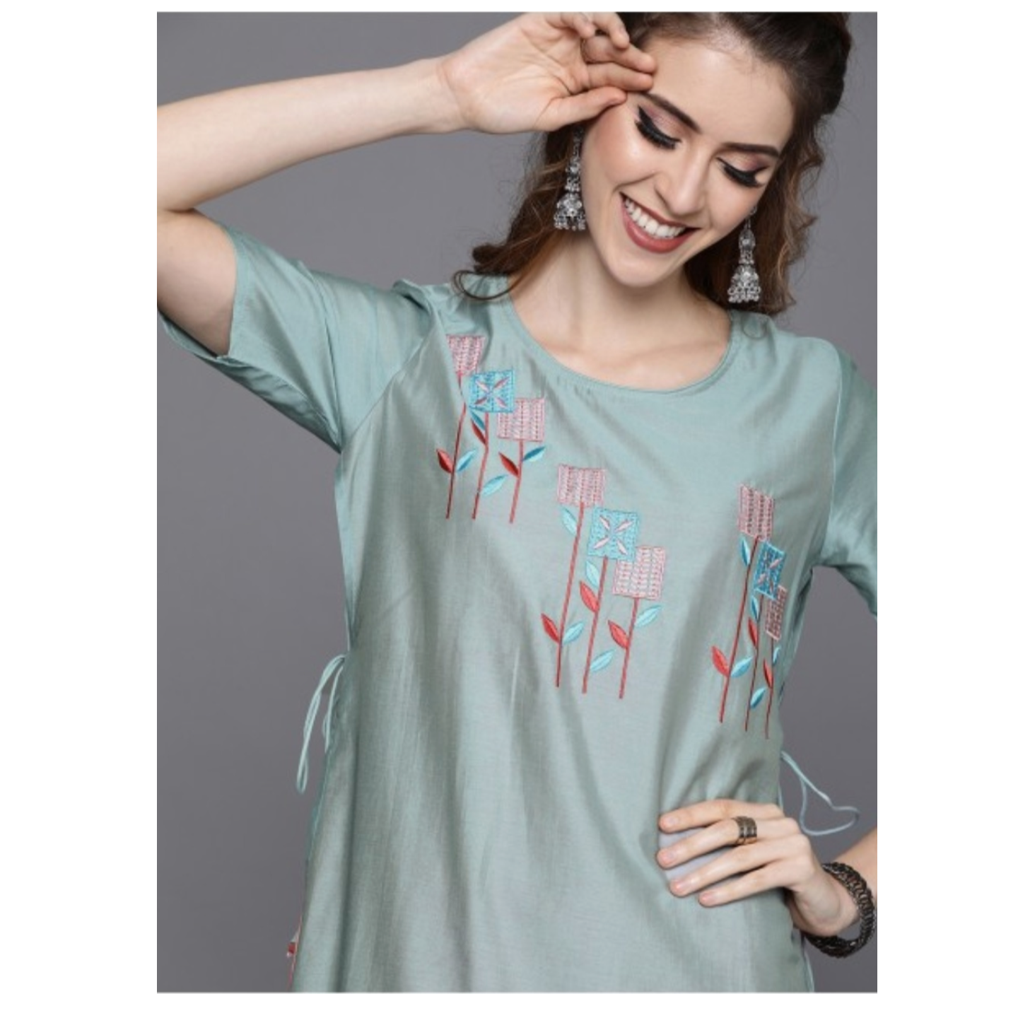 Sea Green & Pink Yoke Design Straight Kurta