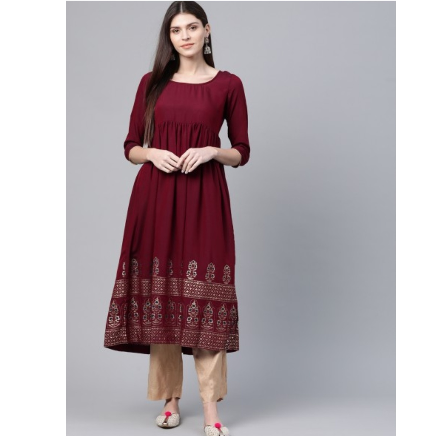 Maroon & Golden Printed Hem Empire A-Line Kurta