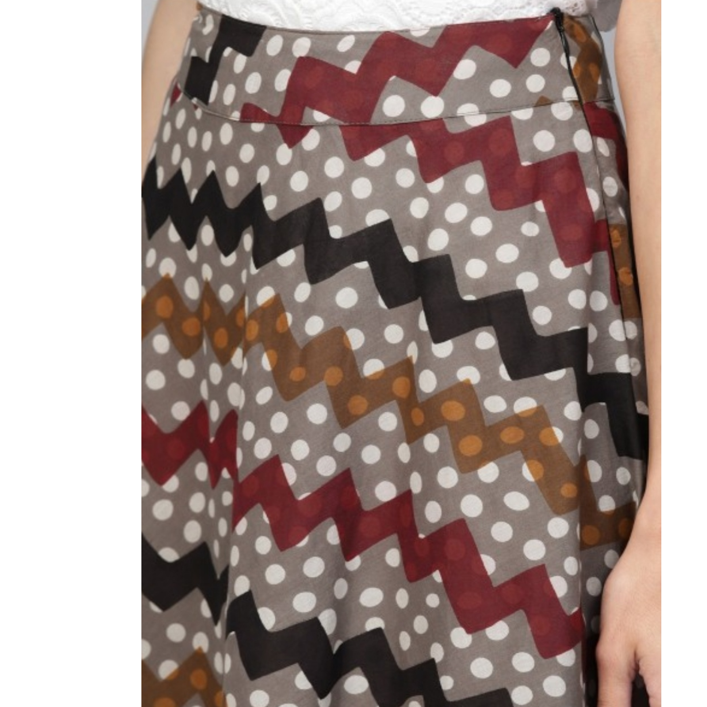 Multicolored Printed Flared Skirt