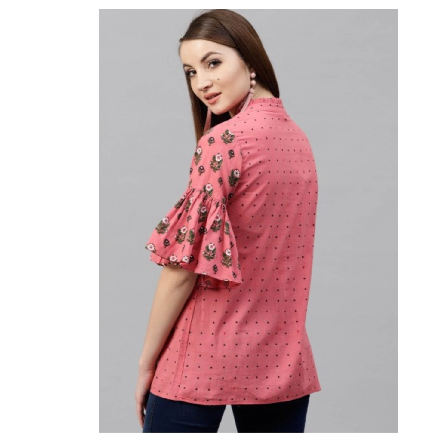 Pink Floral Printed Tunic With Ruffle Sleeve