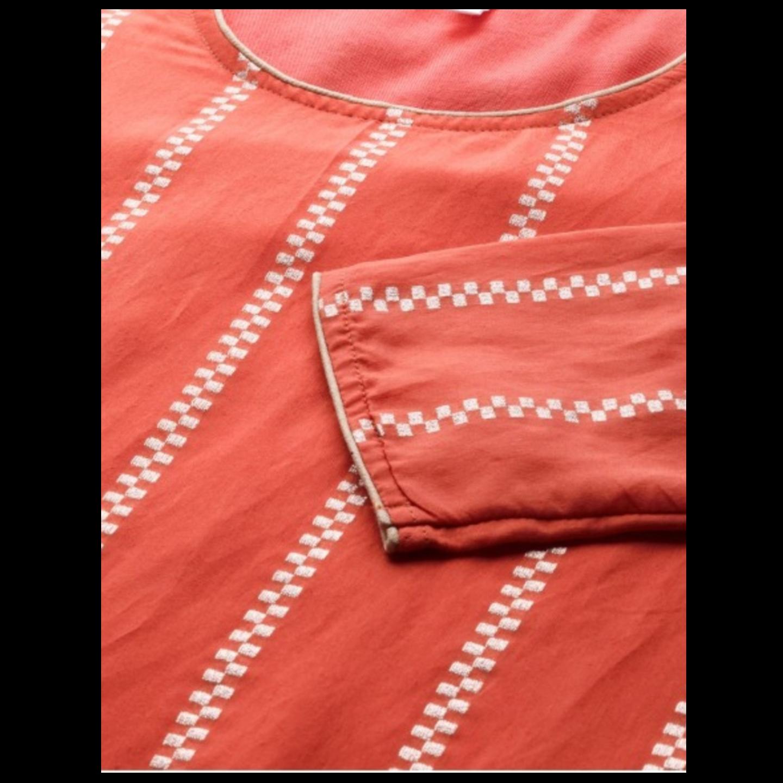Coral Orange & Silver Self-Striped Kurta With Palazzos