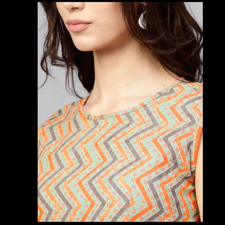 Green & Orange Striped Printed Shift Dress